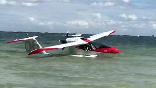 Raw video: Small plane in the water off Sanibel Island - Video