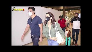 Aamna Sharif and Sonu Sood with Wife Spotted at the Airport | SpotboyE