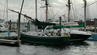 Tall ship in tight spot crashes in Rhode Island - Video