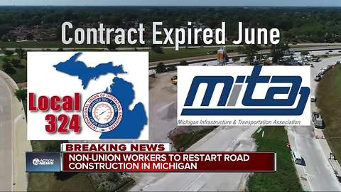 Non-union workers to restart road construction in Michigan