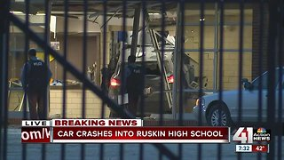 1 taken to hospital after car crashes into Ruskin High School