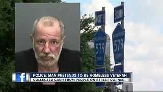 Homeless man poses as vet to collect more money - Video