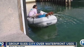Group sues city over waterfront uses - Video