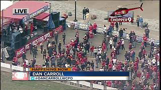 Chopper 9 flies over Opening Day block party - Video