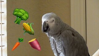 Parrot's sweet talk about his favorite vegetables will make you hungry