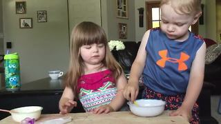 """""""Sneaky Toddler Girl Steals Her Brother's Jello"""""""