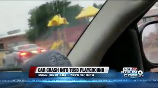 Police look for car that smashes into TUSD elementary school playground - Video