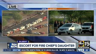 Gilbert fire, police escort late Chief's daughter to school