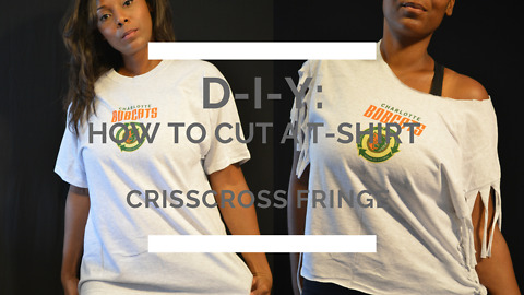 How to cut a t-shirt into a crisscross fringe