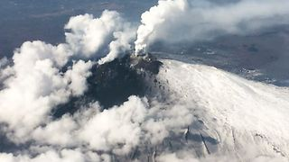 Aerial View of Smoke Columns Above Etna Craters
