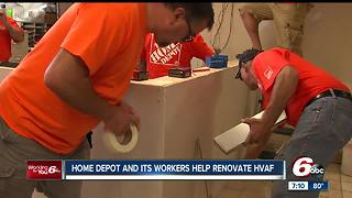 Home Depot workers give Hoosier Veterans Assistance Foundation building makeover - Video