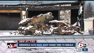 Greenfield auto body shop owner jumping hurdles to rebuild following fire - Video