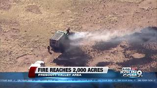 Viewpoint Fire at 2,000 acres near Chino Valley, evacuations underway - Video