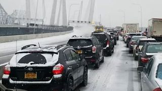 Early Morning Pileup Shuts Down Traffic on Governor Mario Cuomo Bridge - Video