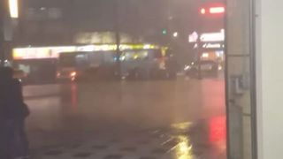 People Crowd in New Taipei City Metro Entrance As Typhoon Winds Rage Outside - Video