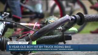 9-year-old boy hit by truck riding bike
