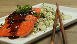 Teriyaki-Glazed Salmon with Cauliflower Rice - Video