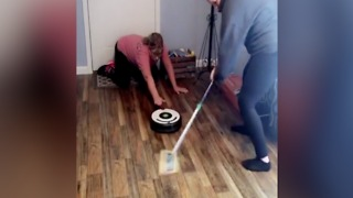Olympic spirit! Living room curling with iRobot and broom  - ABC15 Digital - Video