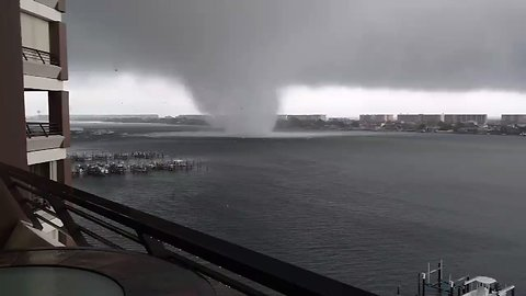 Water Spout Funnel Spins Over Fort Walton