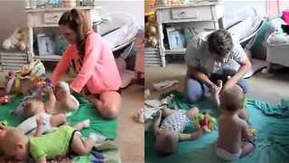 Parents of Triplets Compete in a Diaper Change Challenge - Video