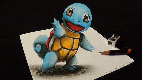 How I Draw a 3D Squirtle, from Pokémon GO