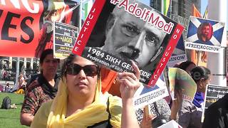 Indian Prime Minister Modi confronted by protests in London - Video