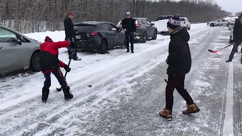 Delayed by 75-Car Pileup, Locals Pass the Time in Most Canadian Way Possible