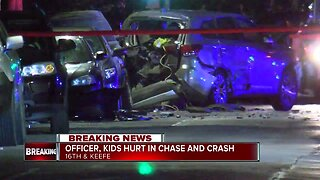 Milwaukee police officer, children injured in chase and crash
