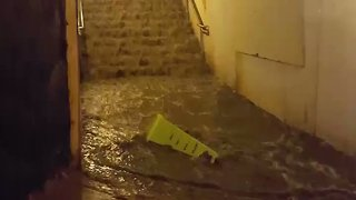 Toronto Storm Swamps Union Station Exit - Video