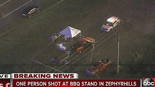 Man shot at roadside BBQ stand - Video