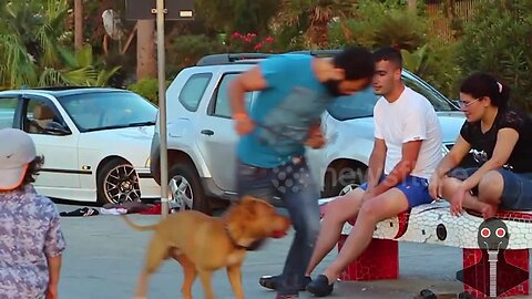 Pranksters trick people by tripping over empty air in Beirut