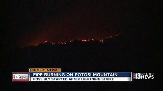 Fire burning on Potosi Mountain - Video