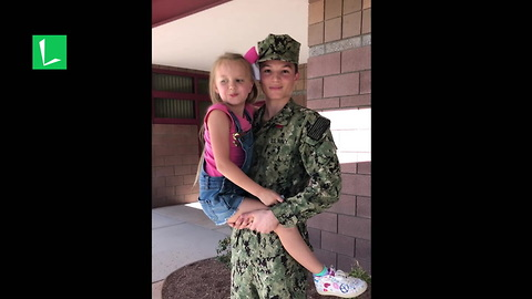 Little Sister Stunned When She Turns Around & Sees Navy Brother At School