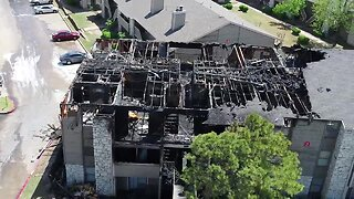 Drone video of apartment fire