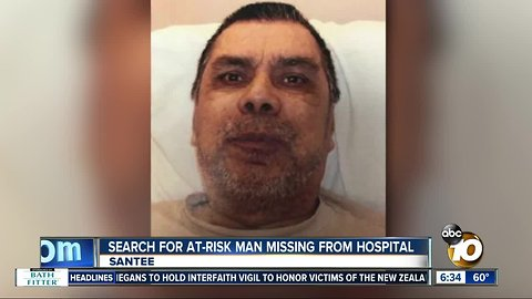 Authorities search for man missing from Santee hospital