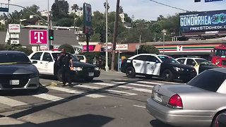 Active Gunman With Possible Hostages Barricaded in Los Angeles Supermarket - Video
