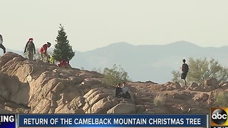 Christmas tree replaced at top of Camelback Mountain - Video