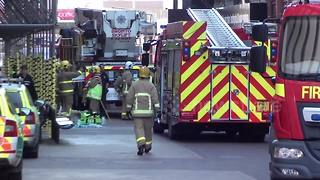 Fire service arrives at Blackpool Tower after fire traps 12 - Video