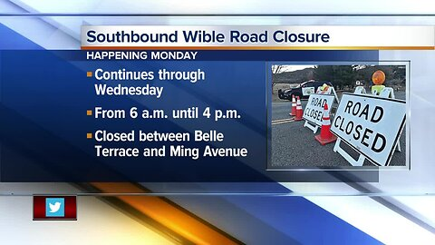 Southbound Wible Road Closure Scheduled