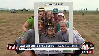 WWII veteran experiences total solar eclipse - Video