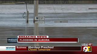 Main streets in Aurora underwater - Video