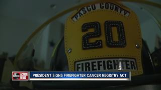 President Trump signs bill to help cancer-stricken firefighters - Video