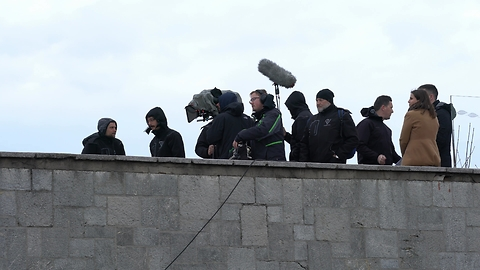 Film Crew At The Famous Ljubljana Castle In Slovenia