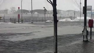 Storm Surge Floods Boston Seaport During Nor'easter - Video