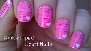 Pink Striped Nail Art With Heart Design