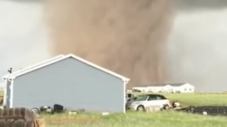 Stunning Close Up of Tornado Coming Through Front Yard in Laramie, Wyoming - Video
