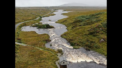 Drone captures lake's rushing overflow in Ireland