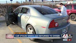 Car stolen weeks ago returned to owner - Video