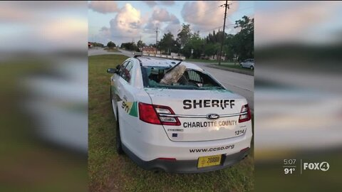 Deputies search for suspect who vandalized sheriff's patrol car