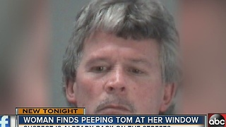 Woman finds peeping tom at her window - Video